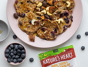 easy vegan banana blueberry pancakes