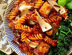 lentil pasta with aubergine