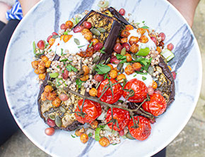 zhoug roasted aubergines with crunchy chickpeas and goldenberry pumpkin seed buckwheat salad